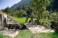 Hindernislauf: Die Zohms schieben ihre Räder über eine Brücke bei Brig.