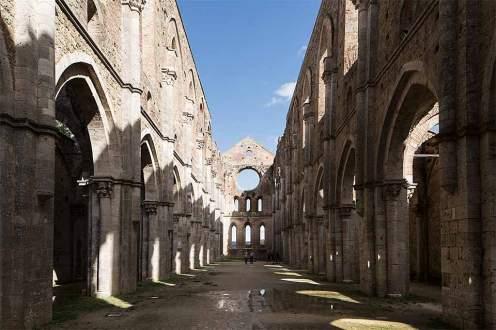 Das Kloster San Galgano in der Nähe von Monticiano ist schon seit dem Ende des 18. Jahrhunderts eine Ruine.