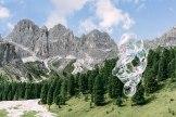 Rosengarten, Val di Fassa. Die nahe gelegene Rifugio Vajolet (2243 Meter) war Brunellos erster Konzertort in den Dolomiten.